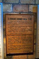 Roma 31 Gennaio 2010.Museo Storico della Liberazione .Via Tasso 155,  era il Comando SS e Gestapo, della polizia Nazista  durante l'occupazione da parte delle  Germania durante la Seconda Guerra Mondiale..Le ordinanze dell' esercito di occupazione tedesco, firmata dal Generale Stahel.Rome, January 31, 2010.Historical Museum of the Liberation.Via Tasso 155, was the SS and Gestapo Command, the police during the Nazi occupation by Germany during the Second World War..Ordinances' s German occupation army, signed by General Stahel