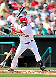 10 March 2010: St. Louis Cardinals' outfielder Nick Stavinoha in action during a Spring Training game against the Washington Nationals at Roger Dean Stadium in Jupiter, Florida. The Cardinals defeated the Nationals 6-4 in Grapefruit League action. Mandatory Credit: Ed Wolfstein Photo