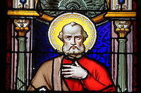 Stained glass window of St Peter by Julien Leopold Lobin, 1814-64, installed 1855, in the Royal Chapel, on the second floor of the Phare de Cordouan or Cordouan Lighthouse, built 1584-1611 in Renaissance style by Louis de Foix, 1530-1604, French architect, located 7km at sea, near the mouth of the Gironde estuary, Aquitaine, France. This is the oldest lighthouse in France. There are 4 storeys, with keeper apartments and an entrance hall, King's apartments, chapel, secondary lantern and the lantern at the top at 68m. Parabolic lamps and lenses were added in the 18th and 19th centuries. The lighthouse is listed as a historic monument. Picture by Manuel Cohen