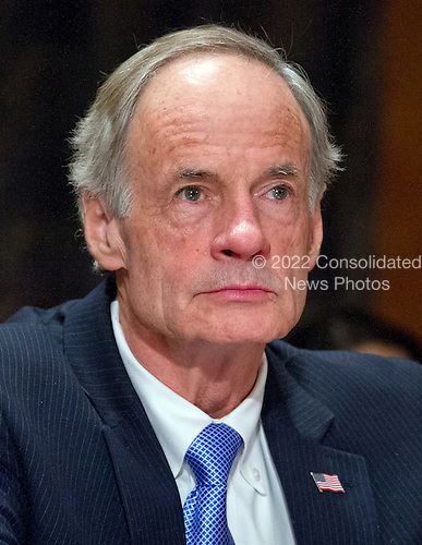 United States Senator Tom Carper (Democrat of Delaware) waits to speak before the US Senate Committee on Homeland Security and Governmental Affairs on the nomination of General John F. Kelly, USMC (Retired), to be Secretary, US Department of Homeland Security on Capitol Hill in Washington, DC on Tuesday, January 10, 2017.<br /> Credit: Ron Sachs / CNP