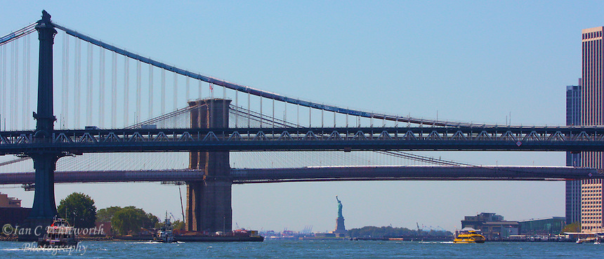 Panoramic view of the New York City skyline looking under the Manhattan and Brooklyn bridges