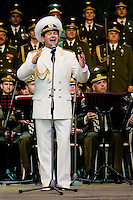Vadim Petrovich Anayev, the tenor soloist of the Russian Army Choir ?Alexandrov Ensemble?, sings solo part during a concert given in Loket, Czech Republic, 14 June 2009. Alexandrov Ensemble (established in 1928) is the official army choir of the Russian armed forces (Red Army). The ensemble consists of a male choir, a music orchestra and a dance ensemble. The music repertoire of Alexandrov Ensemble range from traditional Russian balalaika tunes to church hymns, Italian opera arias and pop music songs.