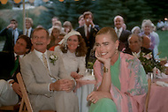 Ketchum, Idaho, U.S.A, August, 5th, 1989. Margaux Hemingway and Jack Hemingway, her father, during his  wedding party.