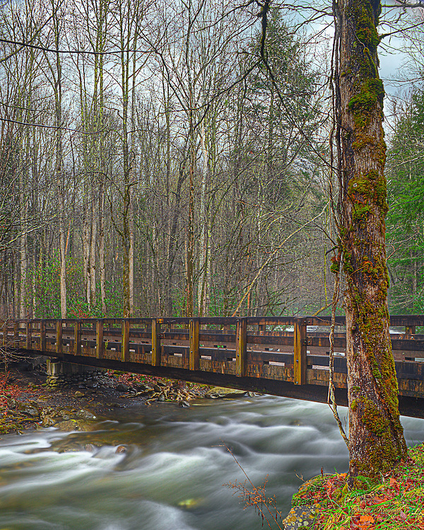 Bridge across the Greenbrier River on a gray, rainy day. Three exposure HDR.