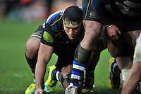 Francois Louw of Bath Rugby looks on at a scrum. Aviva Premiership match, between Bath Rugby and Wasps on February 20, 2016 at the Recreation Ground in Bath, England. Photo by: Patrick Khachfe / Onside Images