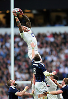 Courtney Lawes of England wins the ball at a lineout. RBS Six Nations match between England and Scotland on March 11, 2017 at Twickenham Stadium in London, England. Photo by: Patrick Khachfe / Onside Images