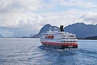 Hurtigruten, the Norwegian coastal ferry sailing north