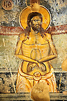 Byzantine fresco of Christ on the cross in the church of  Saint Nicolas.   Mystras ,  Sparta, the Peloponnese, Greece. A UNESCO World Heritage Site