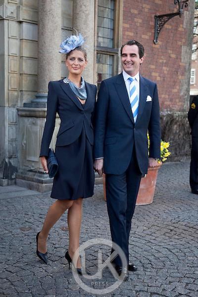 Prince Nikolaos and Princess Tatiana of Greece attend.The Christening of the Danish Royal Twins, at Holmens Church, Copenhagen..The twins were christened, Prince Vincent Frederik Minik Alexander and Princess Josephine Sophia Ivalo Mathilda