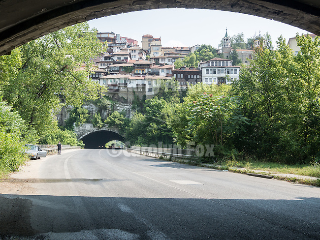 Through the highway tunnels in the eastern part of the city of Veliko Tarnovo on and Yantra River, Bulgaria