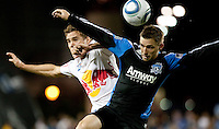 Chris Albright (left) battles against Bobby Convey (right). The New York Red Bulls defeated the San Jose Earthquakes 1-0 at Buck Shaw Stadium in Santa Clara, California on October 30th, 2010.