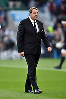 New Zealand Head Coach Steve Hansen looks on during the pre-match warm-up. Rugby World Cup Final between New Zealand and Australia on October 31, 2015 at Twickenham Stadium in London, England. Photo by: Patrick Khachfe / Onside Images