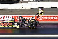Feb 12, 2017; Pomona, CA, USA; NHRA top fuel driver Troy Coughlin Jr during the Winternationals at Auto Club Raceway at Pomona. Mandatory Credit: Mark J. Rebilas-USA TODAY Sports