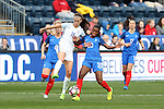 CHESTER, PA - MARCH 01: Jill Scott (ENG) (18) and Grace Geyoro (FRA) (20). The England Women's National Team played the France Women's National Team as part of the She Believes Cup on March, 1, 2017, at Talen Engery Stadium in Chester, PA. The France won the game 2-1.