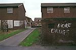 Run down council housing estate No More Drugs, Moss Side Near Manchester, England.