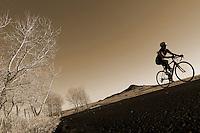 A cyclist rides near Niwot, Colorado.