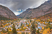 "Known as the ""Little Switzerland"" of Colorado, Ouray is surrounded by high rising mountains in all directions. This image of Ouray was taken in Autumn when the aspen were gold and the air was cool and crisp."