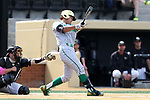WAKE FOREST, NC - APRIL 15: Notre Dame's Daniel Jung. The Wake Forest Demon Deacons hosted the University of Notre Dame Fighting Irish on April 15, 2017, at David F. Couch Ballpark in Wake Forest, NC in a Division I College Baseball game. Wake Forest won the game 13-7.