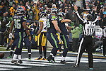 Seattle Seahawks wide receiver Jermaine Kearse celebrates his second quarter touchdown against the Pittsburgh Steelers at CenturyLink Field in Seattle, Washington on November 29, 2015.  The Seahawks beat the Steelers 39-30.      ©2015. Jim Bryant Photo. All Rights Reserved.