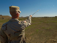 December 12th 2003.Mosul, Northern Iraq..Golf course on US Army base..An officer at the 101st Airbourne base in Mosul, Norhtern Iraq has built a six hole golf course, by location it is probaly the most hostile in the world and is reckoned to Iraq's first and only course.