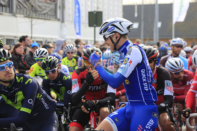 Matteo Trentin (ITA) Quick-Step Floors jokes with Daniel OSS (ITA) BMC Racing Team on the start line of the 60th edition of the Record Bank E3 Harelbeke 2017, Flanders, Belgium. 24th March 2017.<br /> Picture: Eoin Clarke | Cyclefile<br /> <br /> <br /> All photos usage must carry mandatory copyright credit (&copy; Cyclefile | Eoin Clarke)