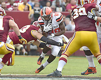 Cleveland Browns running back Duke Johnson (29) is tackled by Washington Redskins defensive end Trent Murphy (93) in first quarter action of the game at FedEx Field in Landover, Maryland on October 2, 2016.  The Redskins won the game 31 - 20.<br /> Credit: Ron Sachs / CNP /MediaPunch ***EDITORIAL USE ONLY***