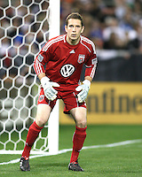 Troy Perkins #23 of D.C. United on alert during an MLS match against the New England Revolution on April 3 2010, at RFK Stadium in Washington D.C.