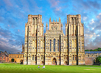 The facade of the the medieval Wells Cathedral built in the Early English Gothic style in 1175, Wells Somerset, England