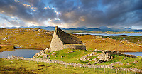 Pictures of Dun Carloway Broch on the Isle of Lewis in the Outer Hebrides; Scotland. Brochs are among Scotland's most impressive prehistoric buildings and were the precursors of the Medieval Scottish Tower Houses. The world Broch is derived from lowland scots who called forts Brough from the old Norse Borg.; Broch stone roundhouses date from about 2; 300 to 1; 900 years ago; and are found mainly in north and west Scotland. Dun Carloway Broch was probably built around the time of the Roman occupation in Britain in 43AD and was probably the primary dwelling-places for the principal family in the area. Dun Carloway Broch would have provided some protection against sporadic raiding; but were not purely defensive structure but a focal point for the clan of the area.