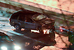 WATERBURY, CT-042017JS04- State Police tend to a roll over accident on I-84 westbound near exit 22 in Waterbury on Wednesday evening. <br /> Jim Shannon Republican-American
