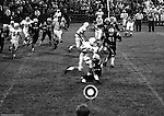 Bethel Park PA:  Defensive play with Bruce Evanovich 80 and Gary Biro 81 making the tackle on a Colts running back. Others in the photo; Ray Tedesco 61, Joe Barrett 75, Jim Beck 67, Jim Dingeldine 73, Dennis Franks 66.   The Bethel Park defense played very well in the 13-6 win at Chartiers Valley Stadium. The game went down to the last play of the game when Mike Stewart threw a 65 TD pass to Gary Biro 81.  The defensive unit was one of the best in Bethel Park history only allowing a little over 7 points a game.