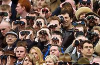 Spectators at the Cheltenham races, Gloucestershire, United Kingdom.
