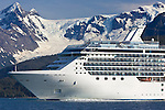 The vessel Coral Princess cruises Prince William Sound, Alaska. The glaciers in the background are in Barry Arm, an inlet off of Port Wells in the northwest portion of the sound near the town of Whittier.