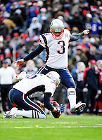 20 December 2009: New England Patriots' place kicker Stephen Gostkowski converts a touchdown in the second quarter against the Buffalo Bills at Ralph Wilson Stadium in Orchard Park, New York. The Patriots defeated the Bills 17-10. Mandatory Credit: Ed Wolfstein Photo
