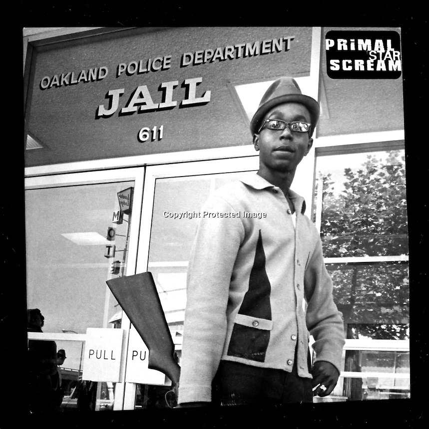ALBUM COVER:Black Panther Bobby Hutton on the cover of Primal  Scream single 'Star'produced by Brendan Lynch &amp; Primal Scream. Creaton Records LTD. London.<br /> (Album cover photo by Ron Riesterer)(copyright@1968)