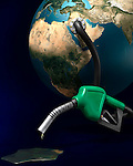 Last drops of gasoline coming out of a gas station nozzle connected to the Earth. Isolated illustration on dark blue background.