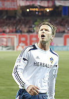 07 March 2012: LA Galaxy midfielder David Beckham #23 shouts at the Toronto Fans after LA Galaxy forward Landon Donovan #10 scored the equalizer late in the second half during a CONCACAF Champions League game between the LA Galaxy and Toronto FC at the Rogers Centre in Toronto..The game ended in a 2-2 draw.