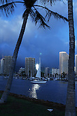 Feb 25, 2007; Honolulu, HI - A sailboat sets sail from Ala Wai Harbor...Photo credit: Darrell Miho
