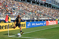 Fred (7) of the Philadelphia Union takes a corner kick. The Philadelphia Union and the New England Revolution  played to a 1-1 tie during a Major League Soccer (MLS) match at PPL Park in Chester, PA, on July 31, 2010.