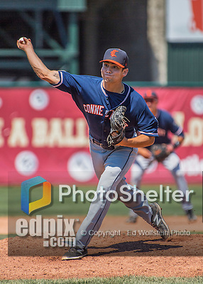 2 August 2016: Connecticut Tigers pitcher Mark Ecker on the mound against the Vermont Lake Monsters at Centennial Field in Burlington, Vermont. The Tigers defeated the Lake Monsters 7-1 in NY Penn League play.  Mandatory Credit: Ed Wolfstein Photo *** RAW (NEF) Image File Available ***