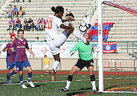 Mark Murphy #32 of Crystal Palace Baltimore watches Gregory Richardson #20 of the Carolina Railhawks hook the ball over during an NASL match at Paul Angelo Russo Stadium in Towson, Maryland on September 18 2010.