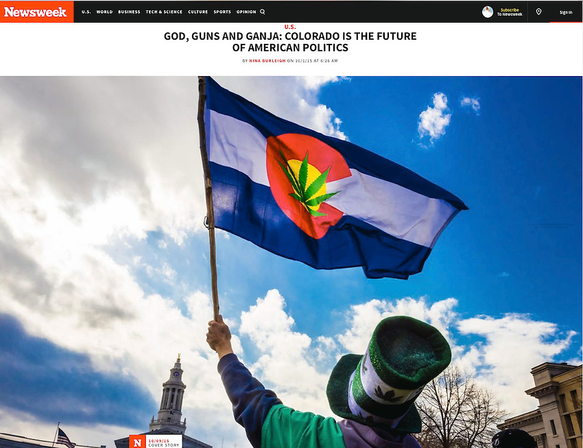 Newsweek cover story, October 9, 2015, God, Guns & Ganja: Colorado is the Future of American Politics. Photo of 2015 420 celebration in Denver, Colorado by Blaine Harrington III.