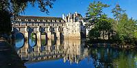 The Chateau de Chenonceau designed by French Renaissance architect Philibert de l'Orme 1555 by  to span the River Char. Loire Valley. Chenonceaux,  Indre-et-Loire département France.