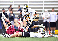 Towson, MD - May 6, 2017: Towson Tigers Brian Bolewicki (3) scores a goal during CAA Championship game between Towson and UMASS at Minnegan Field at Johnny Unitas Stadium  in Towson, MD. (Photo by Phillip Peters/Media Images International)