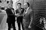 Roy Hattersley, Peter Tatchell and another ?  electioneering Bermondsey by-election south London 1983. UK...