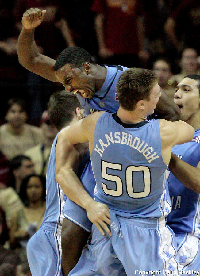 TALLAHASSEE, FL. 1/28/09-FSU-FSU-NC MENSHOOPS CH-North Carolina's Ty Lawson celebrates making the winning shot in the arms of Tyler Hansbrough, Wednesday at the Donald L. Tucker Center in Tallahassee. The Seminoles lost to the Tar Heels 77-80...COLIN HACKLEY PHOTO FOR NOLEINSIDER.COM