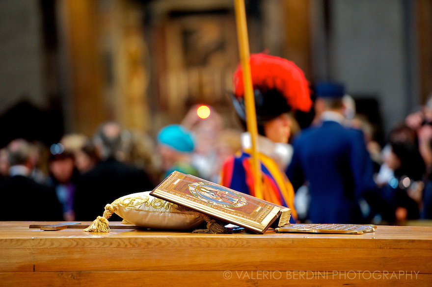 Karol Wojtyla's coffin is escorted by Swiss guards