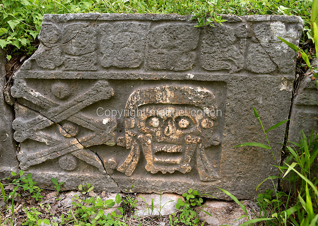 Funeral engravings in the Cementery Group, early 10th century, Puuc architecture, Uxmal late classical Mayan site, Yucatan, Mexico. Picture by Manuel Cohen