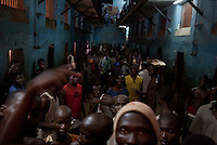 Inmates in Pademba Central Prison's block No. 4. 300 prisoners are incarcerated in the overcrowded block.