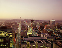 BI32,824-02...WASHINGTON - 1965 photograph of Seattle at evening with the Space Needle in the distance.